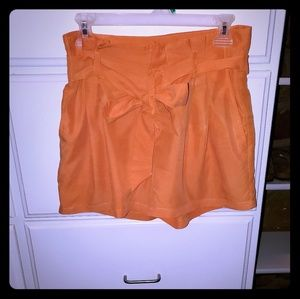 H&M Orange Silk Shorts Sz 8